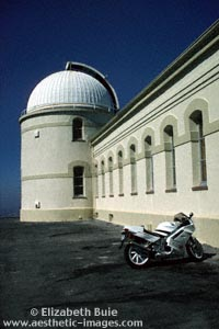 Motorcycle parked at Lick Observatory, San Jose, California (copyright Elizabeth Buie)